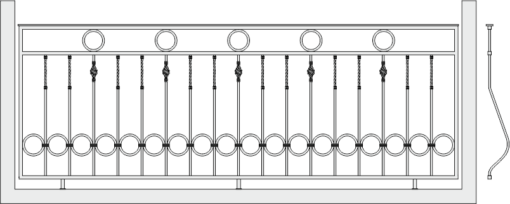 Кованое ограждение балкона 302
