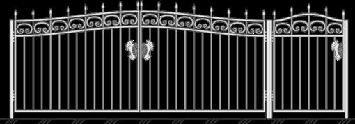 Кованые ворота с калиткой 502