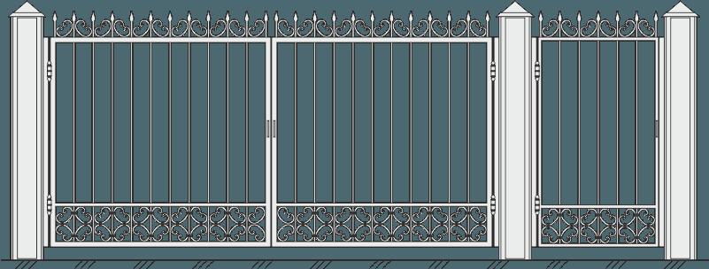 Кованые ворота с калиткой 504