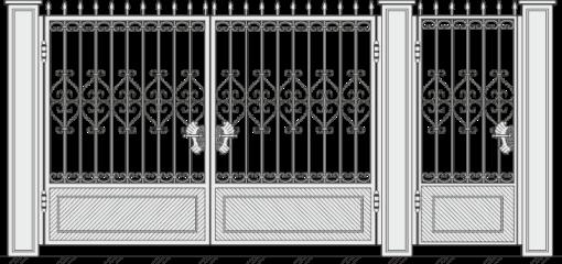 Кованые ворота с калиткой 505