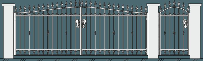 Кованые ворота с калиткой 506