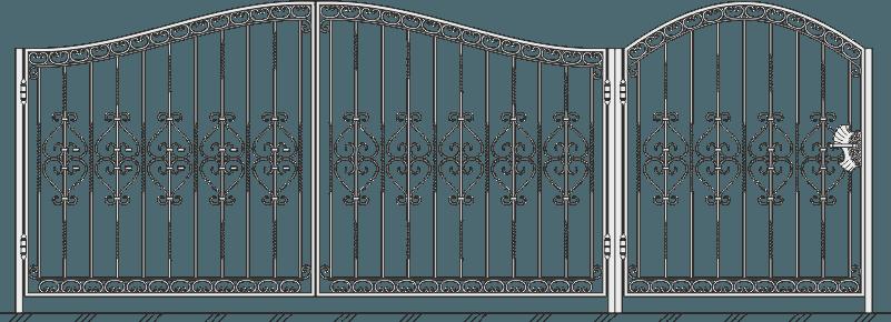 Кованые ворота с калиткой 507