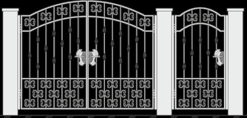 Кованые ворота с калиткой 509