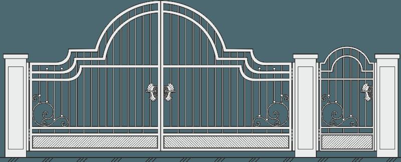 Кованые ворота с калиткой 513