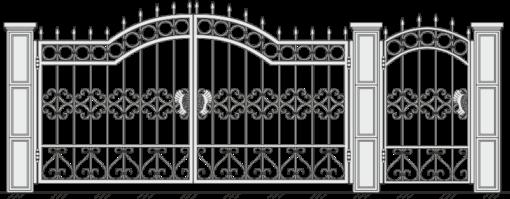 Кованые ворота с калиткой 514