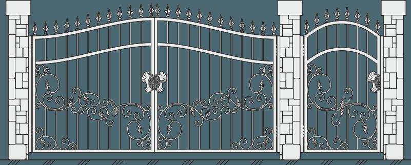 Кованые ворота с калиткой 516