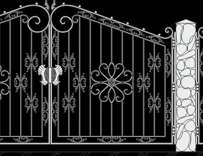 Кованые ворота с калиткой 517