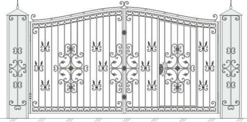 Кованые ворота с калиткой 518
