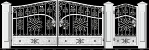 Кованые ворота с калиткой 522