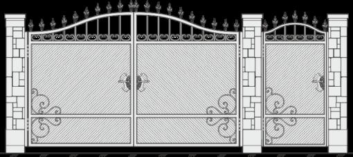 Кованые ворота с калиткой 523