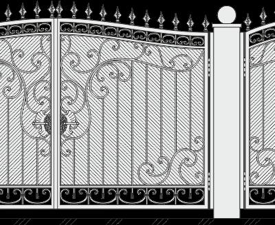 Кованые ворота с калиткой 524